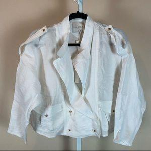 Line & Dot White Linen Oversized Crop Jacket NWT S